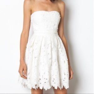 Lace floral white strapless sundress with padding